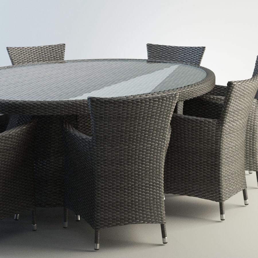 Rattan furniture set royalty-free 3d model - Preview no. 2