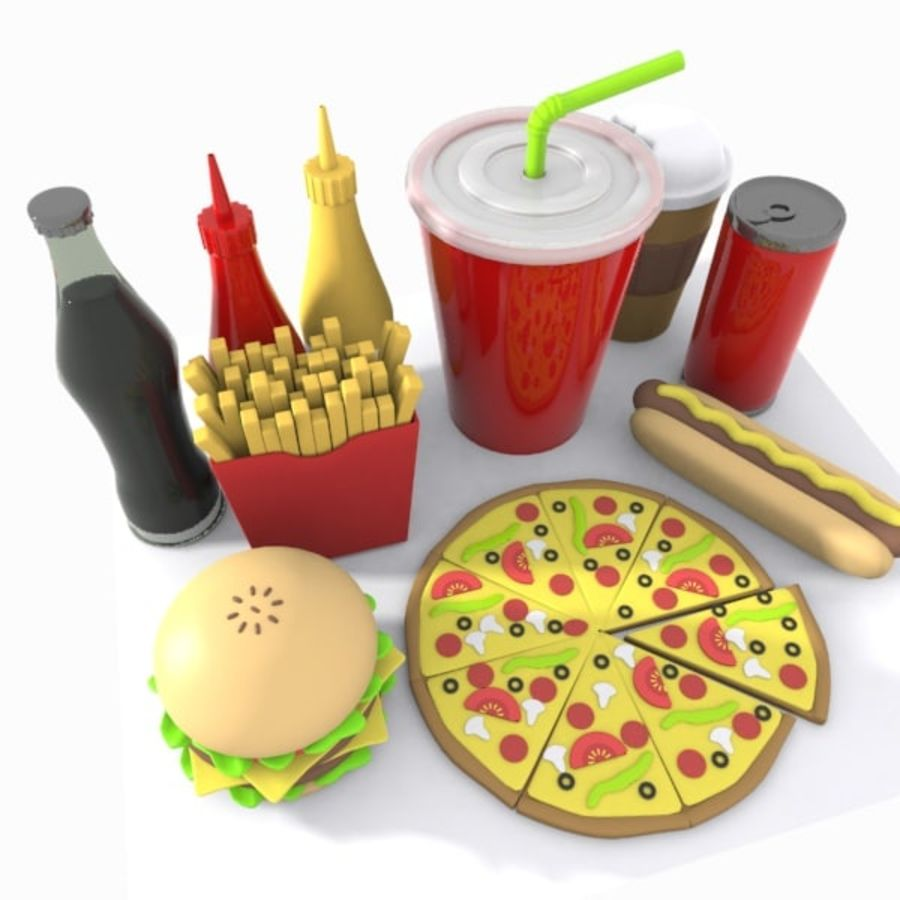 Cartoon Junk Food Meal royalty-free 3d model - Preview no. 6