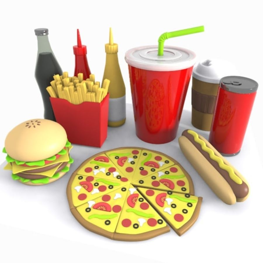 Cartoon Junk Food Meal royalty-free 3d model - Preview no. 1