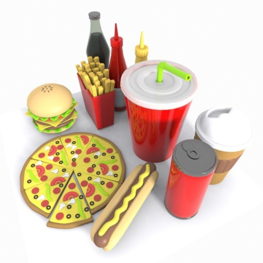 Cartoon Junk Food Meal royalty-free 3d model - Preview no. 4