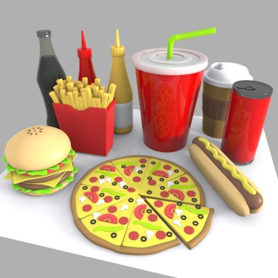 Cartoon Junk Food Meal royalty-free 3d model - Preview no. 2