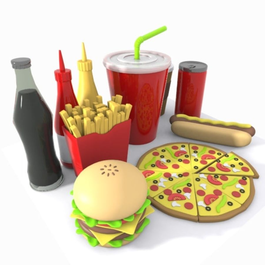 Cartoon Junk Food Meal royalty-free 3d model - Preview no. 5