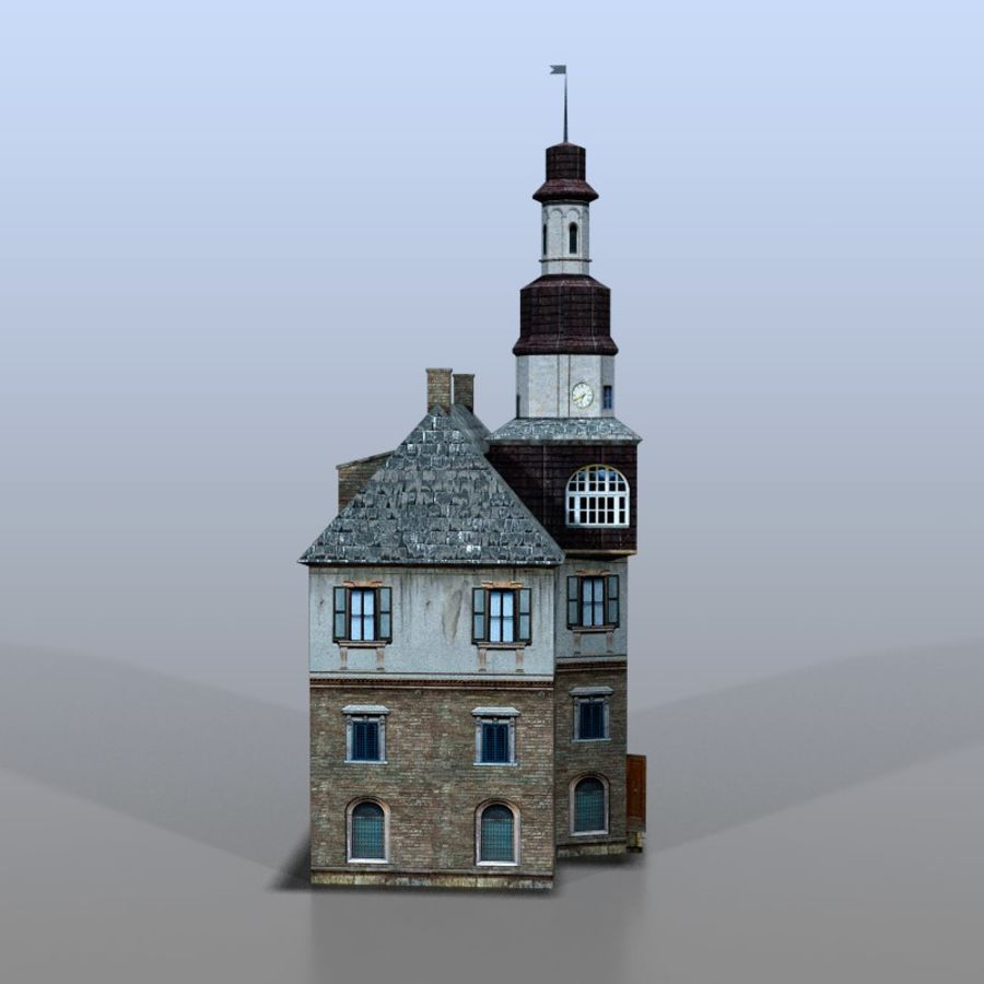 German house v3 royalty-free 3d model - Preview no. 6