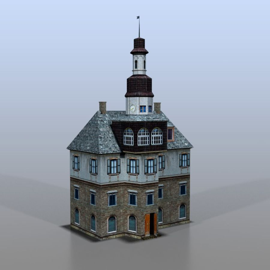German house v3 royalty-free 3d model - Preview no. 1