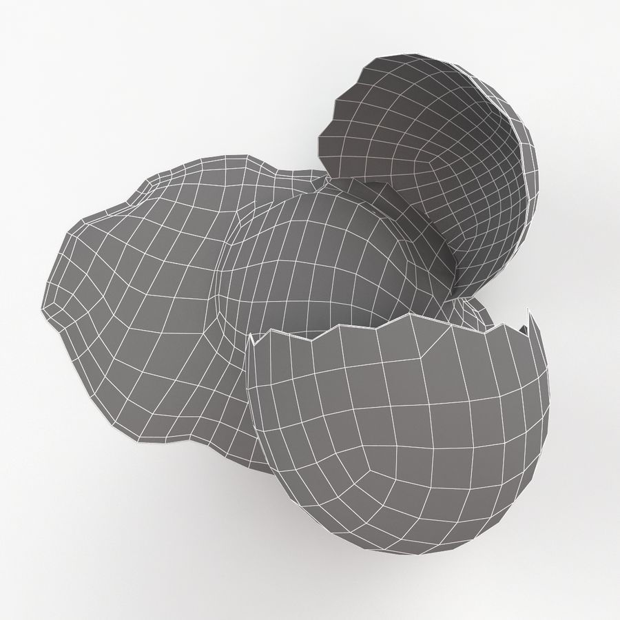 Cracked Quail Egg royalty-free 3d model - Preview no. 16