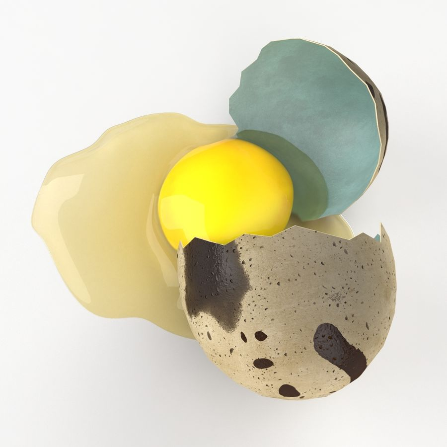Cracked Quail Egg royalty-free 3d model - Preview no. 7