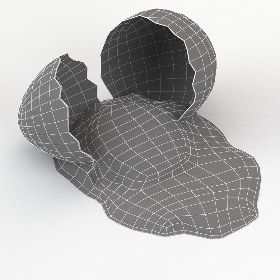 Cracked Quail Egg royalty-free 3d model - Preview no. 11