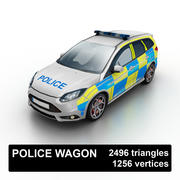 Low Poly Police Wagon UK 3d model