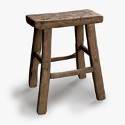 Vintage stołek drewniany kwadrat 3d model