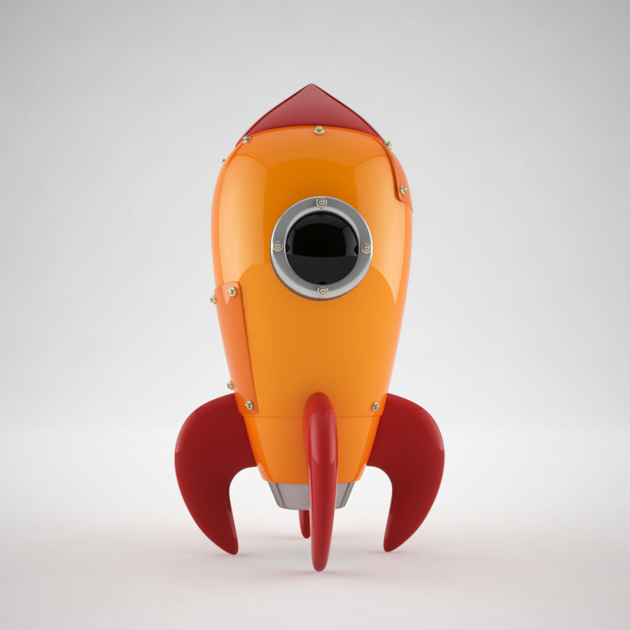 Cartoon Retro Space Rocket royalty-free 3d model - Preview no. 1