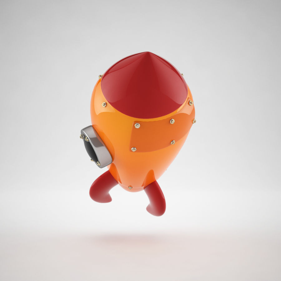 Cartoon Retro Space Rocket royalty-free 3d model - Preview no. 8