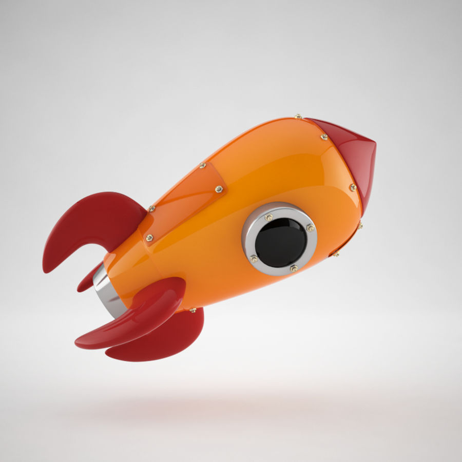 Cartoon Retro Space Rocket royalty-free 3d model - Preview no. 7