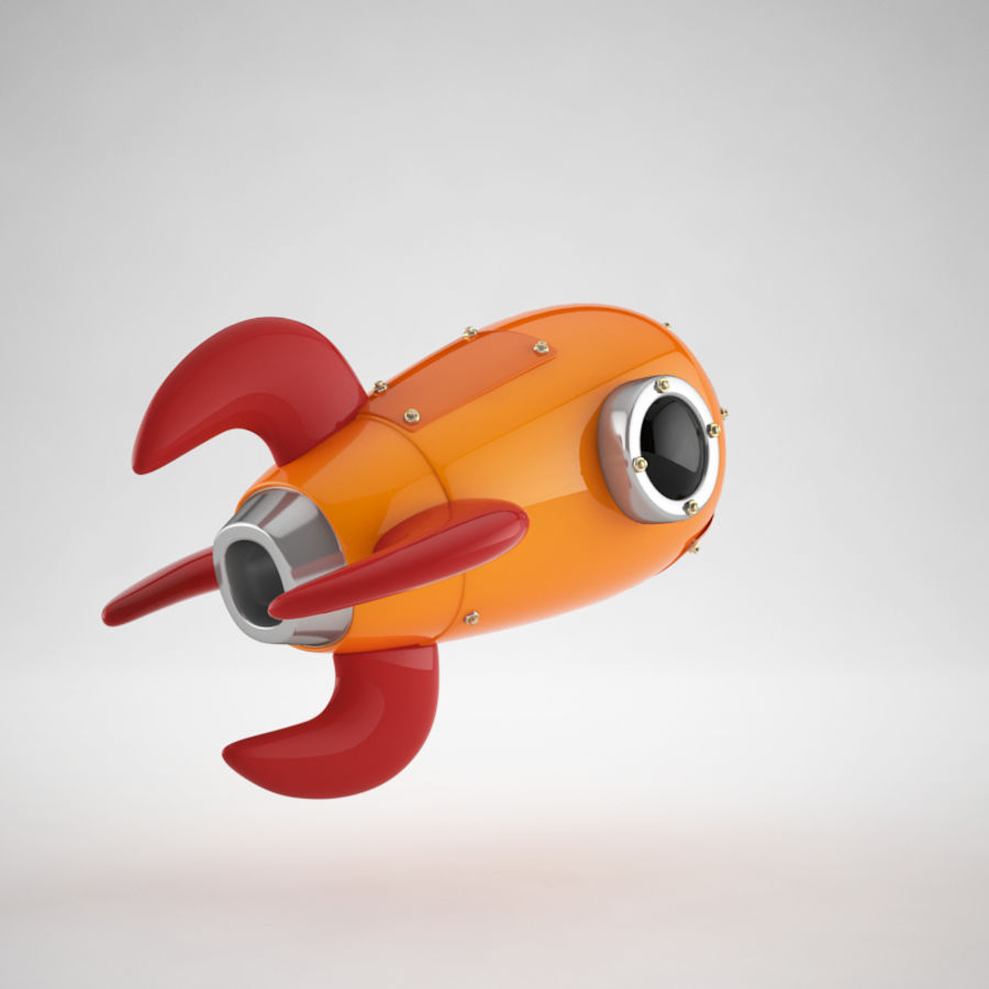 Cartoon Retro Space Rocket royalty-free 3d model - Preview no. 14