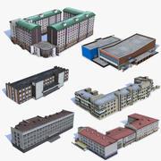 6 Häuser mit niedrigem Poly-Anteil 04 3d model