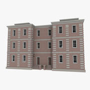 Brick apartment eight with interior textured 3d model