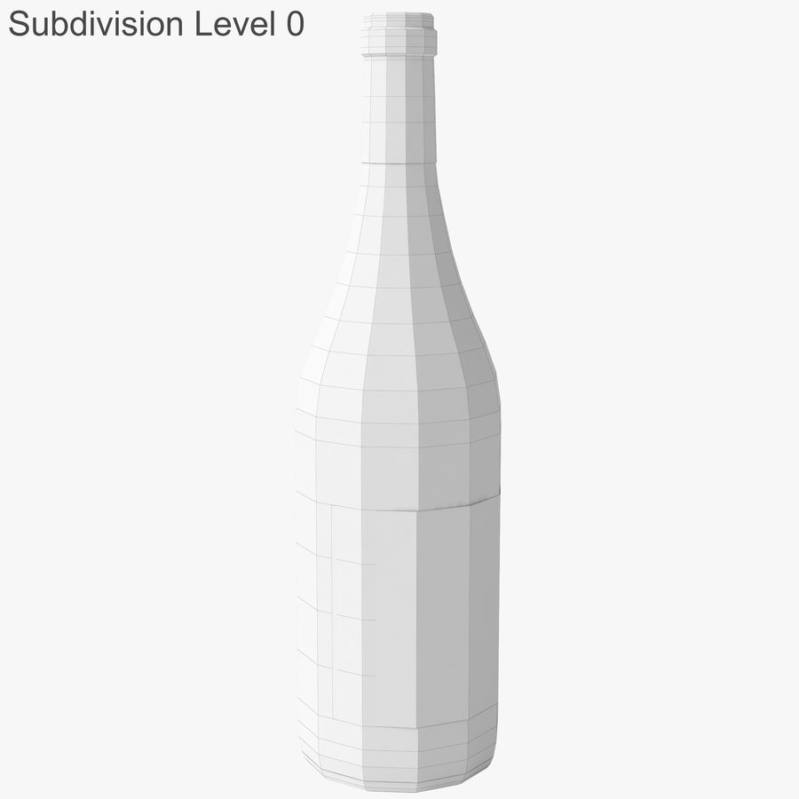 wine bottle white wine royalty-free 3d model - Preview no. 18