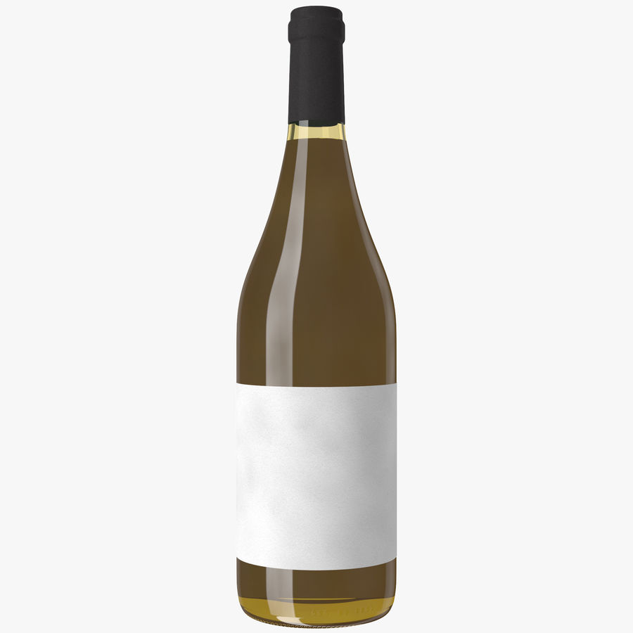 wine bottle white wine royalty-free 3d model - Preview no. 12