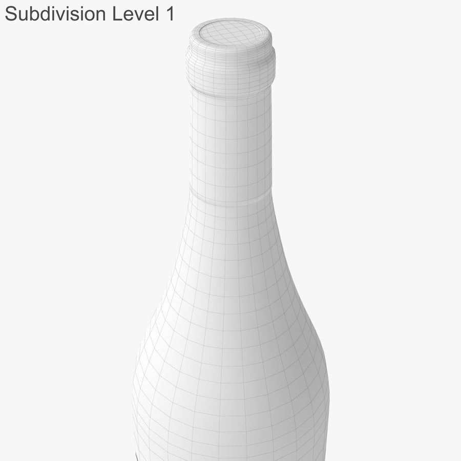 wine bottle white wine royalty-free 3d model - Preview no. 41