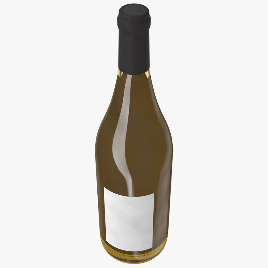 wine bottle white wine royalty-free 3d model - Preview no. 7