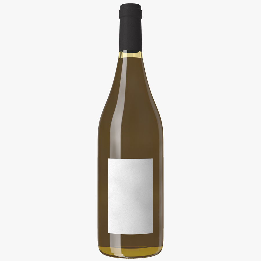 wine bottle white wine royalty-free 3d model - Preview no. 13