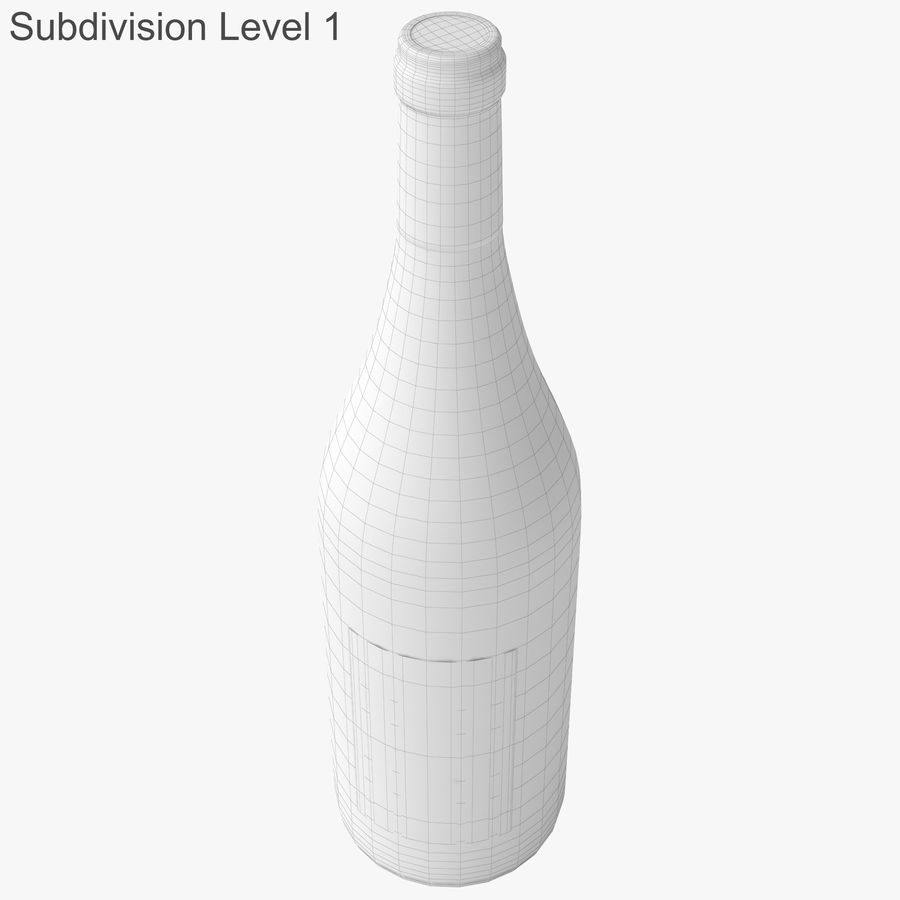 wine bottle white wine royalty-free 3d model - Preview no. 37