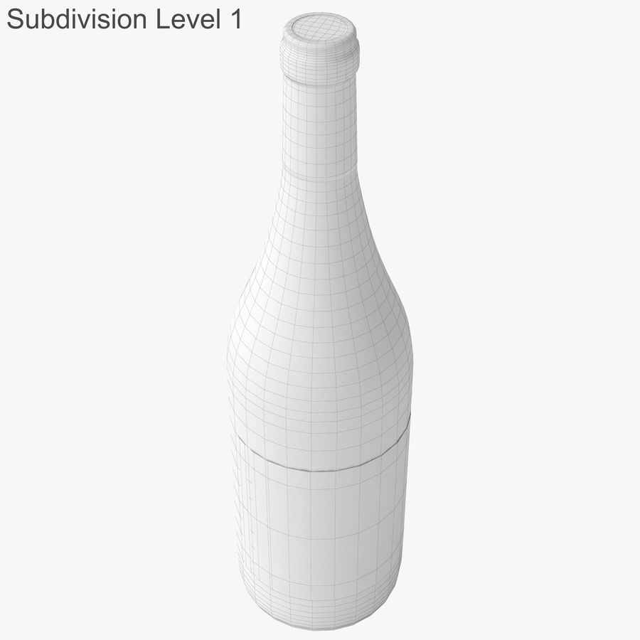wine bottle white wine royalty-free 3d model - Preview no. 36