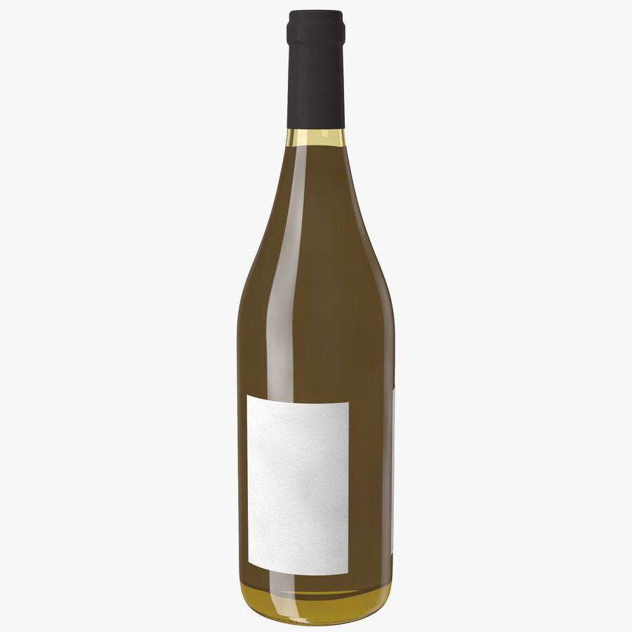 wine bottle white wine royalty-free 3d model - Preview no. 3