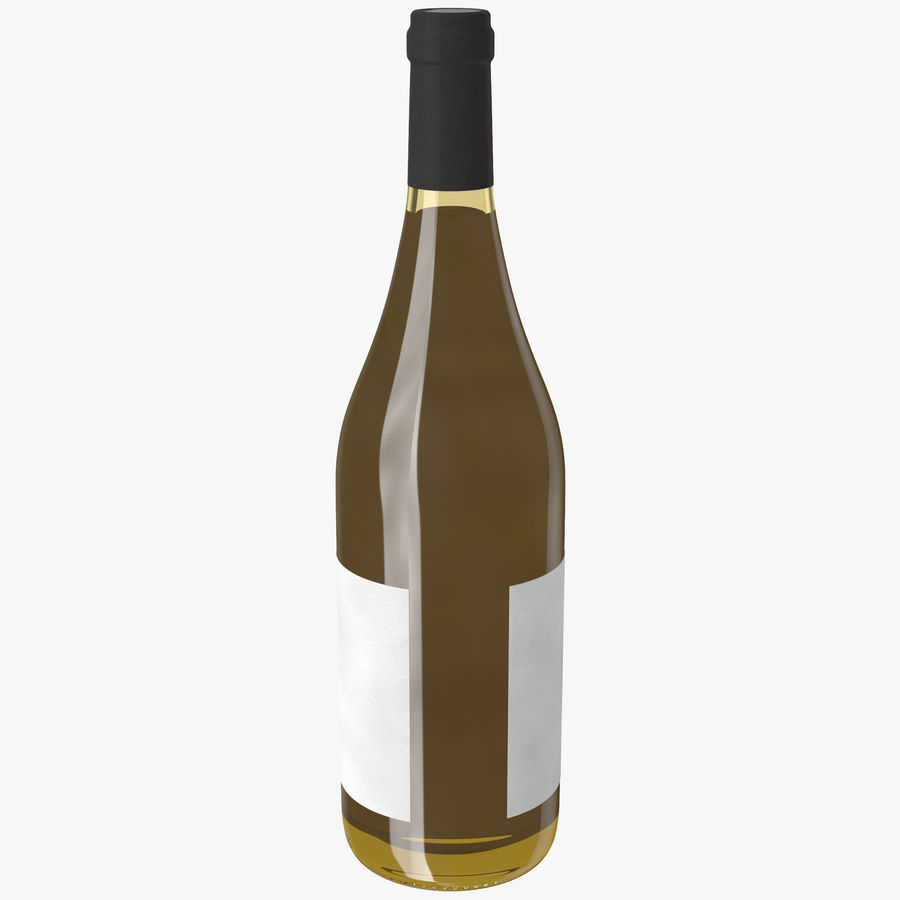 wine bottle white wine royalty-free 3d model - Preview no. 4