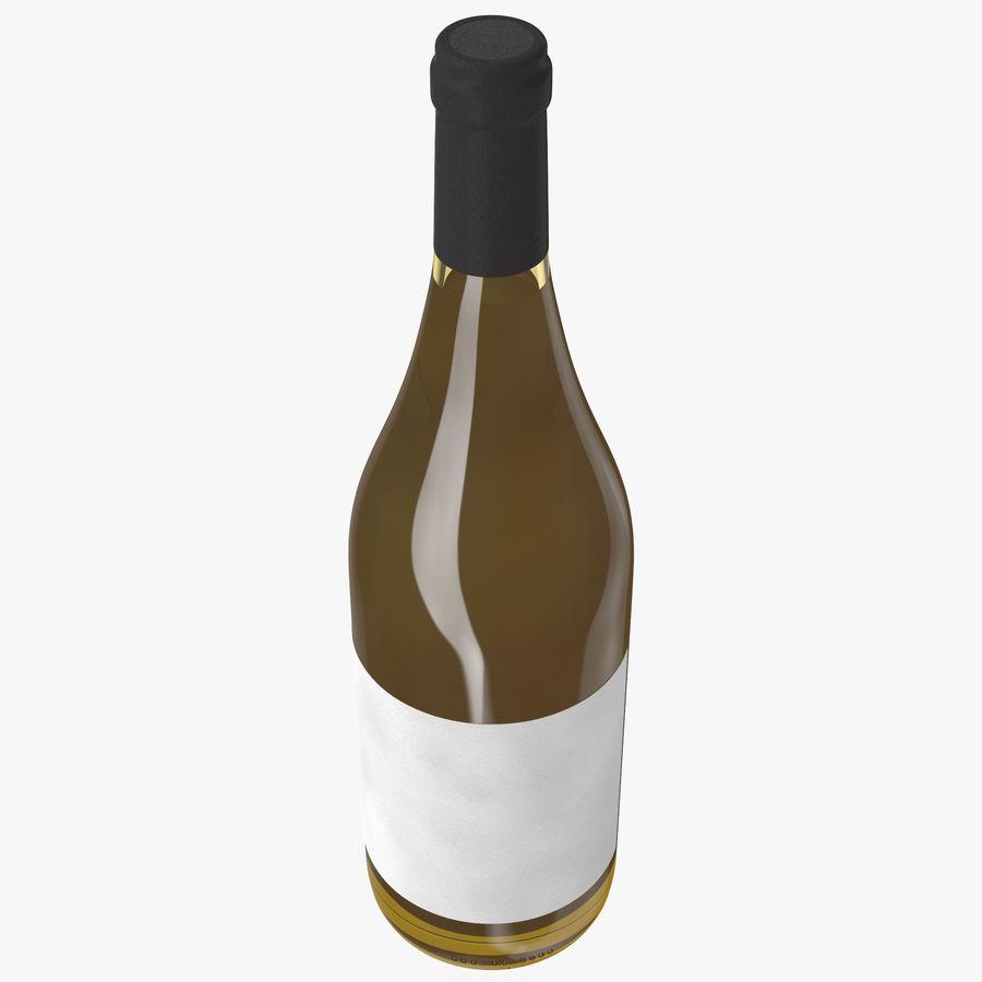 wine bottle white wine royalty-free 3d model - Preview no. 5