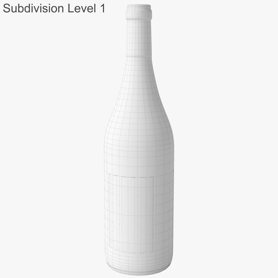 wine bottle white wine royalty-free 3d model - Preview no. 33