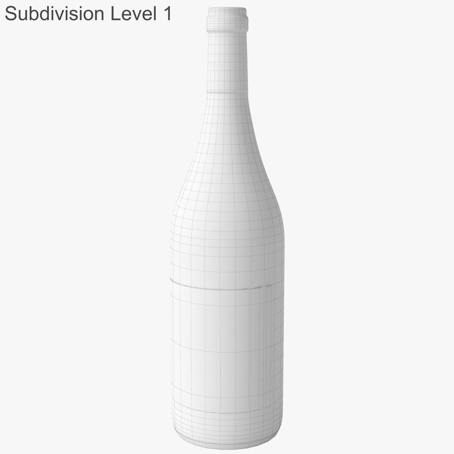 wine bottle white wine royalty-free 3d model - Preview no. 31