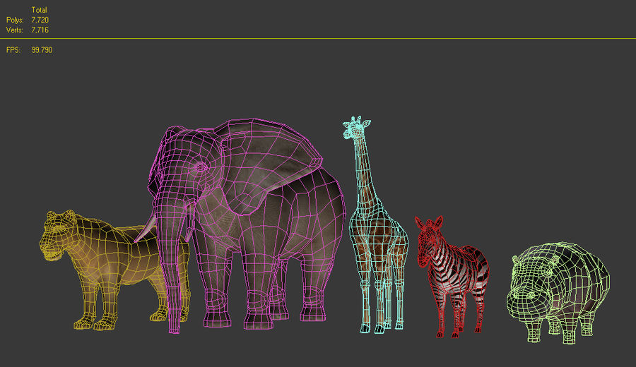 Safari animals collection royalty-free 3d model - Preview no. 2