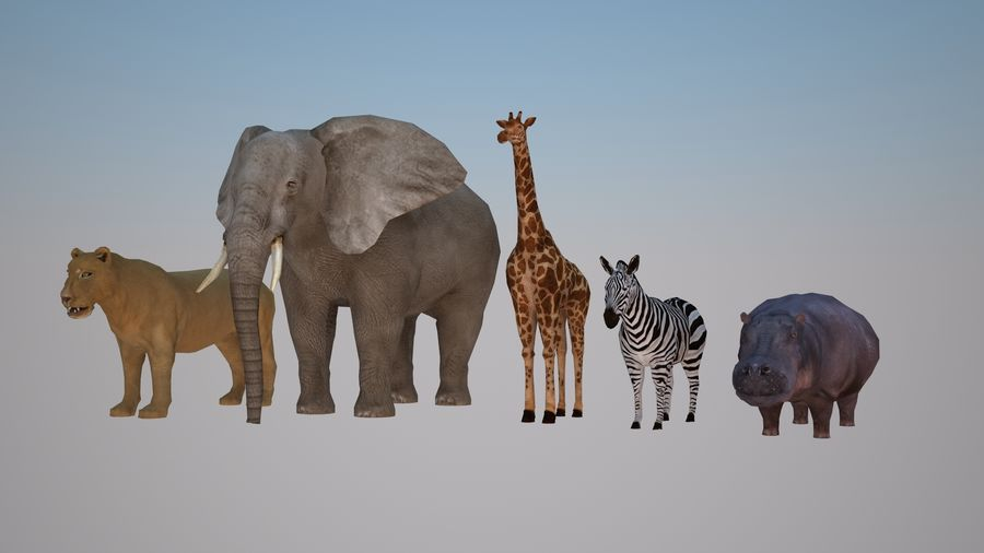 Safari animals collection royalty-free 3d model - Preview no. 1