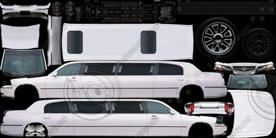 Low Poly Limousine royalty-free 3d model - Preview no. 10