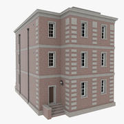 Brick apartment seven with interior textured 3d model