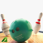 Bowling Balls Pins Lane 3d model