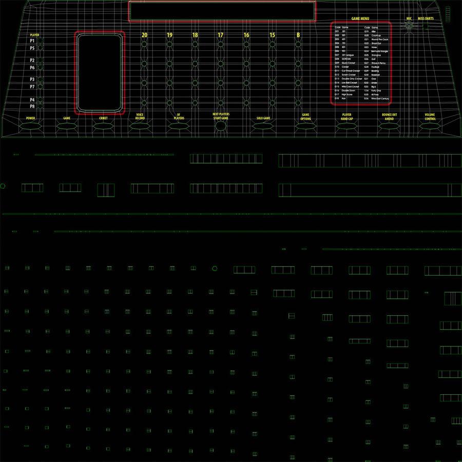 Dartboard Eletrônico Genérico royalty-free 3d model - Preview no. 13