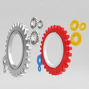 Mechanical machine gears 3 3d model