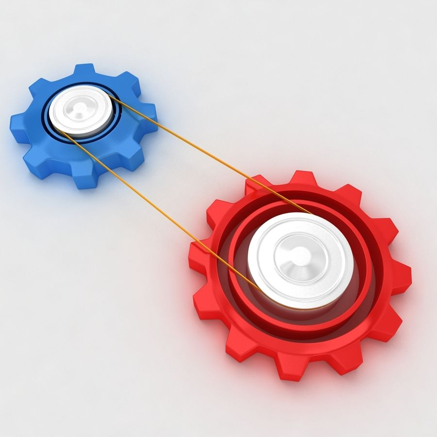 Mechanical machine gears chain royalty-free 3d model - Preview no. 2
