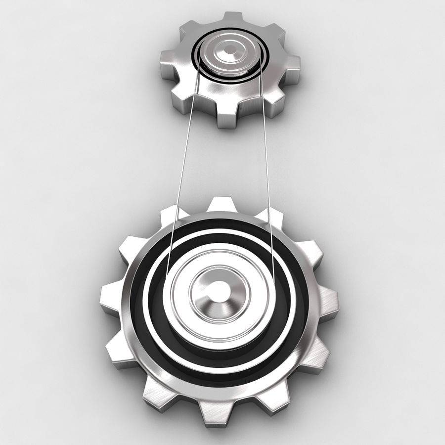 Mechanical machine gears chain royalty-free 3d model - Preview no. 3
