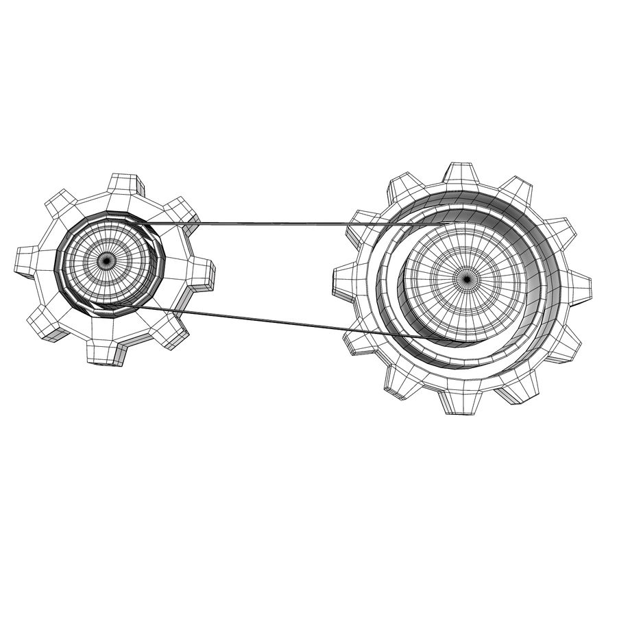 Mechanical machine gears chain royalty-free 3d model - Preview no. 6