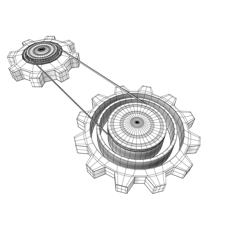 Mechanical machine gears chain royalty-free 3d model - Preview no. 5