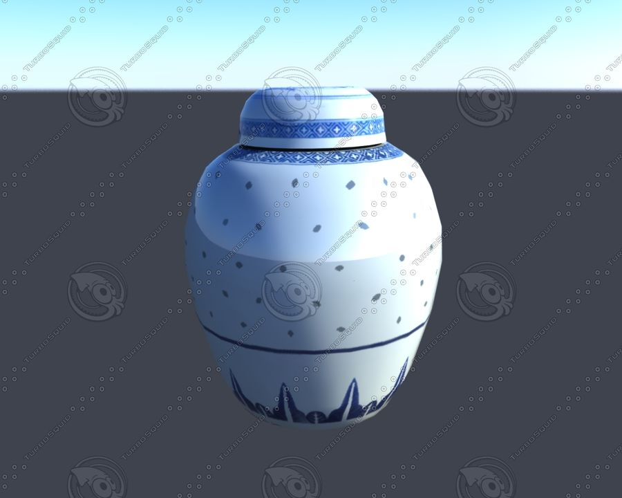 Chinese Ginger Jar royalty-free 3d model - Preview no. 3
