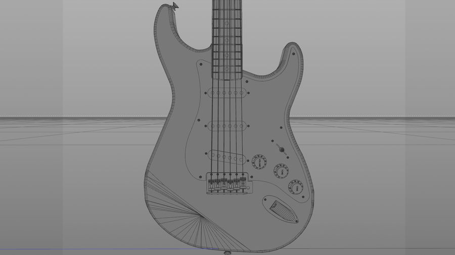Gitarr: Fender Stratocaster Sunburst Finish royalty-free 3d model - Preview no. 13