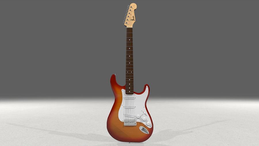 Gitarr: Fender Stratocaster Sunburst Finish royalty-free 3d model - Preview no. 2