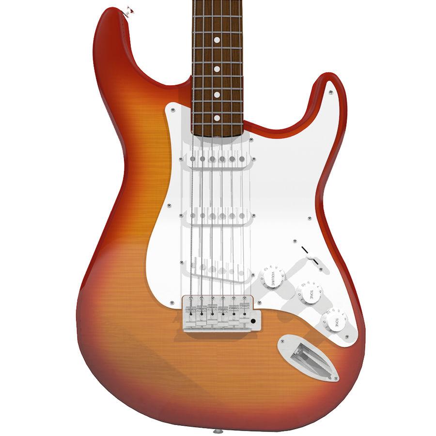 Gitarr: Fender Stratocaster Sunburst Finish royalty-free 3d model - Preview no. 1