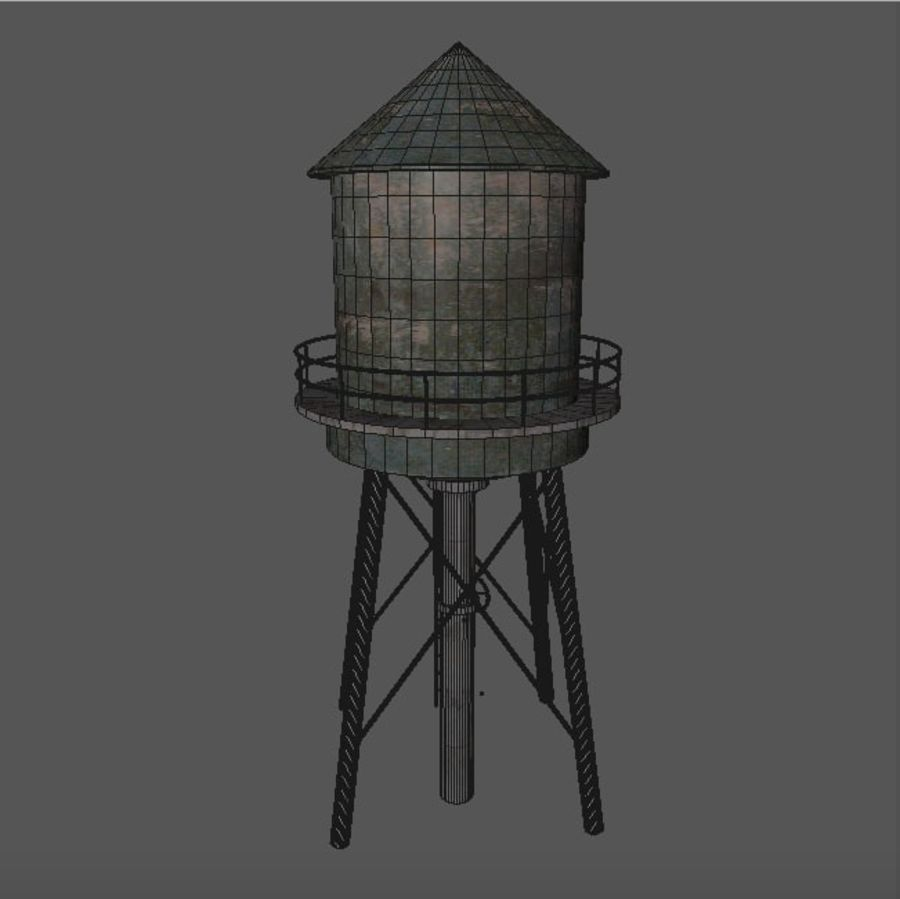 Water Tower (weathered) royalty-free 3d model - Preview no. 13