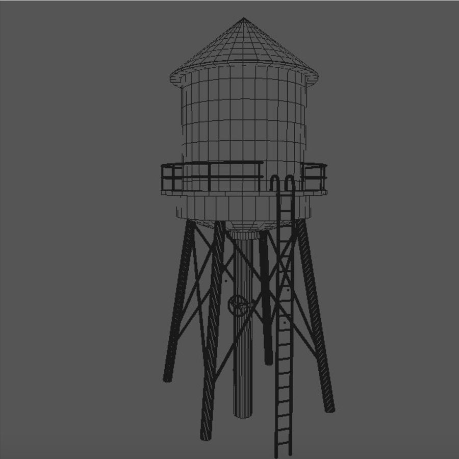 Water Tower (weathered) royalty-free 3d model - Preview no. 8