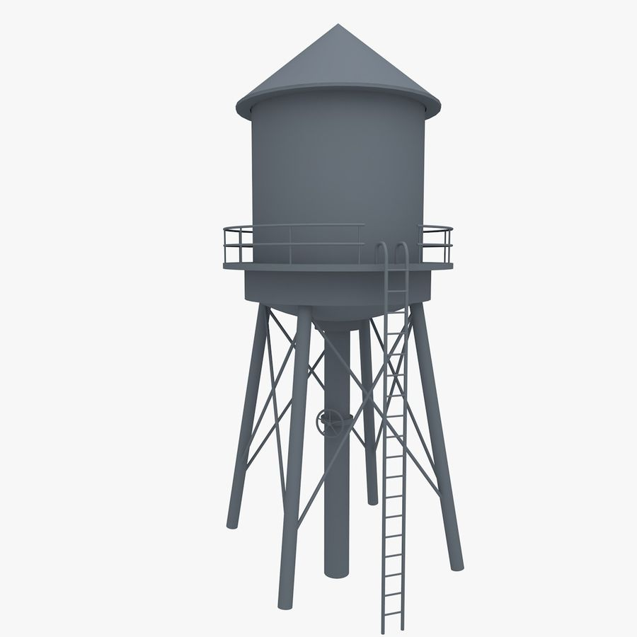 Water Tower (weathered) royalty-free 3d model - Preview no. 6