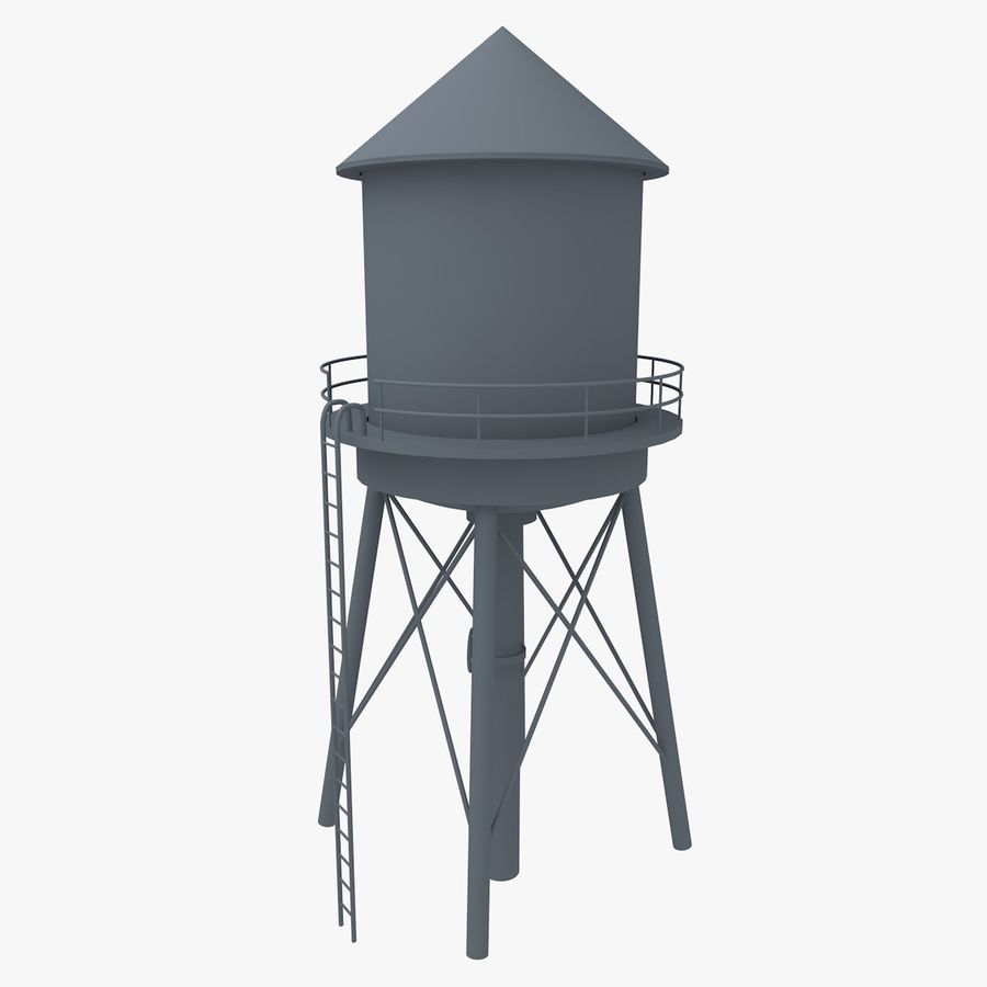 Water Tower (weathered) royalty-free 3d model - Preview no. 9